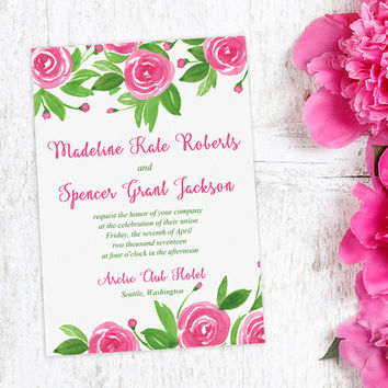 "Floral Invitation Watercolor Wedding - Pink Wedding Invitation ""Sweet Roses"" Watercolor Invitation - Watercolor Flowers Invitation"