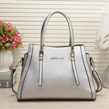 MICHAEL KORS MK Women Shopping Leather Handbag Shoulder Bag Silver I-MYJSY-BB