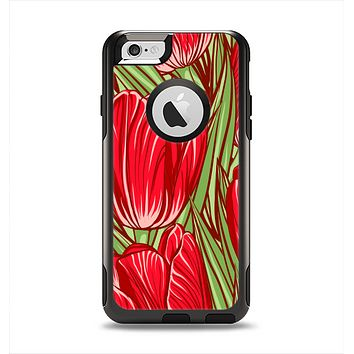 The Sketched Pink & Green Tulips Apple iPhone 6 Otterbox Commuter Case Skin Set