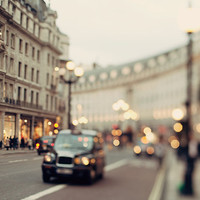 London Photography, Regent Street, Muted Colors, Urban Art Print, Car Lights, Wall Art, Dreamy, Urban City - She Called Herself London