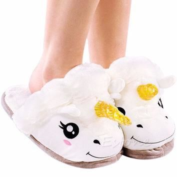 Adult Plush Winter Warm Soft Cute Men Women Unicorn Slippers Home Indoor Shoes