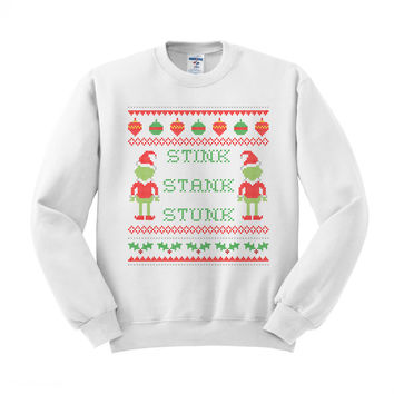 Grinch Stink, Stank, Stunk (On White) Crewneck Sweatshirt