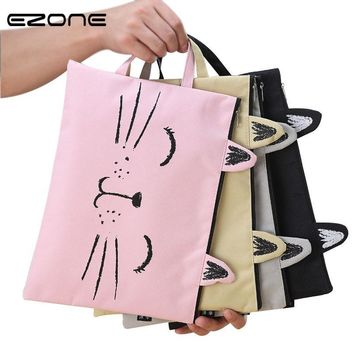 EZONE A4 Cat Canvas Bag Fabric File Folder Document Bag Storage Organizer