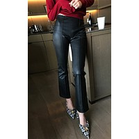 Underground Hideout PU Faux Leather Vertical Seam Flare Leg Ankle Pant - 2 Colors Available
