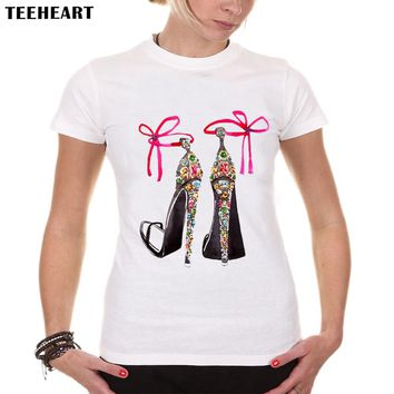 TEEHEART Summer High Hell Shoes Printed Top Tees Women Shirts Vintage  Short Sleeve Casual Tops PX552