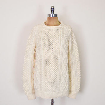 Vintage 70s 80s Ivory Irish Fisherman Sweater Jumper Cable Knit Sweater Hand Knit 100% Wool Oversize Sweater 70s Hippie Men Women S M L XL