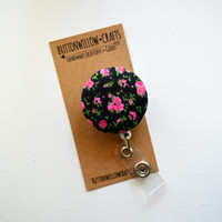 Badge Reel, Fabric Button ID Badge Reel, Retractable Lanyard, Nurses, Birthday Gift, Key Card, Handmade PrettyFloral  Badge Reel
