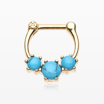 Golden Turquoise Stone Prong Septum Clicker