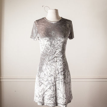 Vintage SILVER Crushed Velvet Dress | Soft Grunge Dress Romantic Babydoll Dress Mini Dress Skater 90s Dress Boho Alternative Pastel Goth