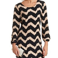 LONG SLEEVE CHEVRON SHIFT DRESS