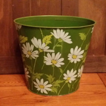 Vintage Metal Green Retro Daisy Trash Can Waste Basket JV Reed and Co Louisville KY