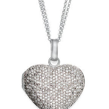 Victoria Townsend Diamond Necklace, Sterling Silver-Plated Diamond Heart Locket (1 ct. t.w.) - Necklaces - Jewelry & Watches - Macy's