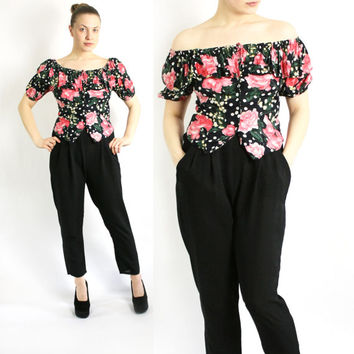 Vintage 80's 90's Floral Print Pink Roses Polka Dot Top, Ruffled Off Shoulder Blouse Button Up - Small