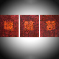 """ARTFINDER: """" Tones of Home """" extra large huge triptych 3 panel wall art red orange brown effect painting big abstract impasto elegant abstraction 48 x 20"""" by Stuart Wright - """" Tones of Home """" A set of 3 elegant large eleg..."""
