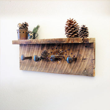 "Rustic hardware coat rack with shelf, wall hanger with 4 railroad spike hooks, 24"" x 8"" barn wood wall hooks"