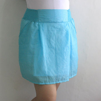 Spring Fashion Romantic Blue Mini Woman Skirt Pockets Ready To Ship