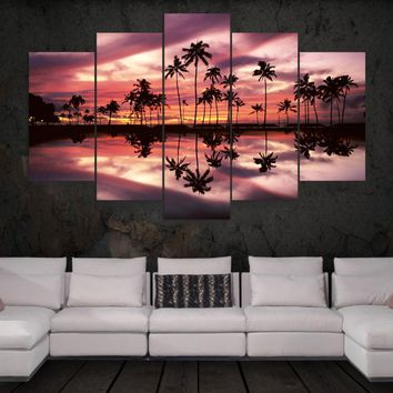 Palm Trees Reflection Ocean Five Piece Canvas