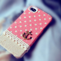 Linen iPhone 4 case, iPhone 4s case, iPhone case, case for iPhone 4 - Anchor on Pink Polka
