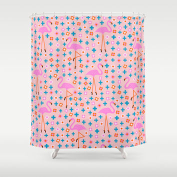 Flamingo Pattern Ballerina Flamingoes Pink Blue Daisies cross signs Shower Curtain