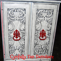 Dresser Cabinet White with Red Interior by CynfullyFunFurniture