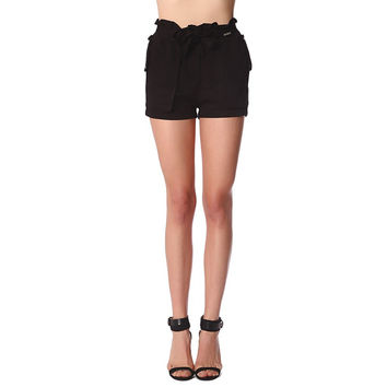Black twill shorts with stretch waist and tie front detail