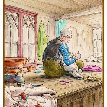 Tailor of Gloucester Working inspired by Beatrix Potter Counted Cross Stitch or Counted Needlepoint Pattern