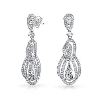 Prom Infinity Knot Tear CZ Statement Dangle Earrings Silver Plated
