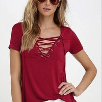 Sexy Women's V Neck Top Shirt Sleeve Bandage Shirts ( Wine )S-5XL