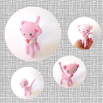 Amigurumi Cat Kitten Crochet Cat Crochet Kitten Crochet Doll Plush Stuffed Animal Kawaii Toy Pink Cat Gift Ideas