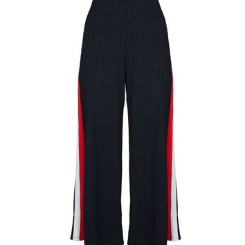 Black Ribbed Side Stripe Cropped Trousers | New Look