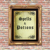 Spells and Potions Printable Halloween Home Wall Decor or Book Cover Wicca Occult Art Print Digital Download