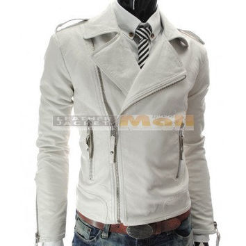 handmade white Men biker Leather Jacket, white biker leather jacket men, Front zip pocket long collar leather jacket for Men