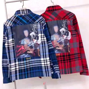 Free shipping-OFF-WHITE new back oil painting men and women loose long-sleeved plaid shirt