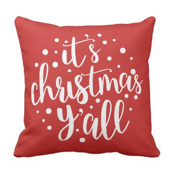 It's Christmas Y'all Pillow Modern Script