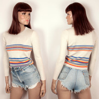 1970s rainbow striped sweater // cropped fit // crew neck