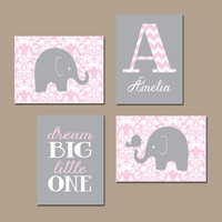 Elephant Nursery Wall Art DAMASK Canvas Artwork Pink Gray Girl Child Monogram Name Bird Dream Big Little One   Set of 4 Prints Baby