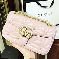 GUCCI High quality new fashion rivets leather shoulder bag women Pink