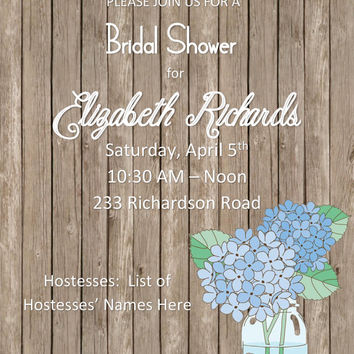 Printable DIY Rustic Jar Invitation for Bridal Shower, Engagement Party, or Wedding Invite Can Be Customized for Any Event