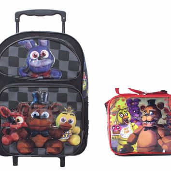 "Five Nights at Freddy's Large 16"" Roller Backpack Plus Lunch Bag Set For Boys"