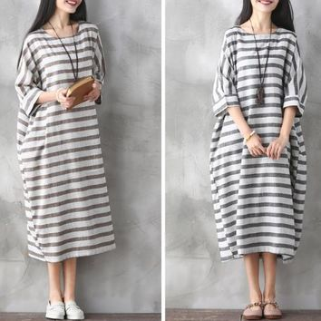 MAYFULL Women autumn winter spring dress Casual Linen Dress Vintage Striped Sleeve Robe Maxi Dress Long Loose Plus Size Dresses