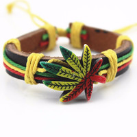 Genuine Leather Metal Maple Jamaica Unisex Men's & Lady's Love Fashion For Women Bracelet Bangle lucky leaf men