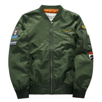 Plus Size 4XL 5XL Men Bomber Jacket Air Force One Hip Hop Patch Designs Slim Fit Pilot Bomber Jacket Coat Men Jackets,YA372