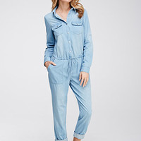 Drawstring Chambray Utility Jumpsuit