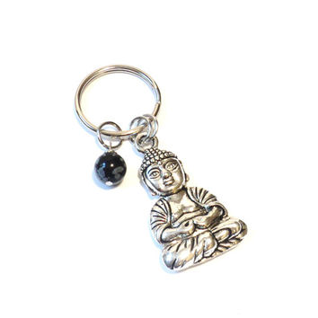 Buddha, Keychain, Sale, Brass, Bronze, Snowflake, Yoga, Buddhism, Meditation, Unique, Gift For Her or Him, Christmas, Stocking Stuffer