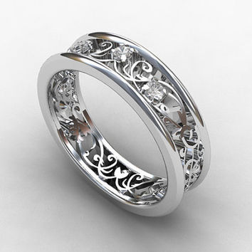 White sapphire ring, filigree, sapphire wedding band, lace ring, vintage style, white gold, wedding band, unique