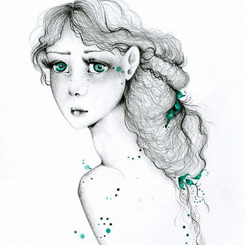Pencil Drawing OOAK Illustration Original Watercolor & Pencil Drawing Teal Watercolor Painting ohtteam