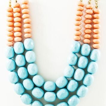 Beaded Pastel Statement Necklace