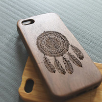 Walnut wood iphone 5 case iphone 5s case dream catcher iphone 5 case
