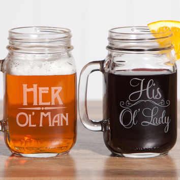 His and Her Mason Jar Mug Set