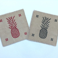 Tea-dyed pineapple coasters cross stitch pieces fabric coaster set of two brown color coasters